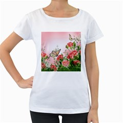 Flora Butterfly Roses Women s Loose Fit T Shirt (white) by BangZart