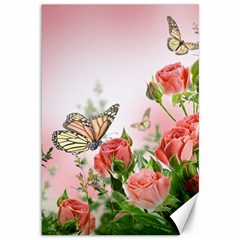 Flora Butterfly Roses Canvas 12  X 18   by BangZart
