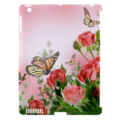 Flora Butterfly Roses Apple Ipad 3/4 Hardshell Case (compatible With Smart Cover) by BangZart