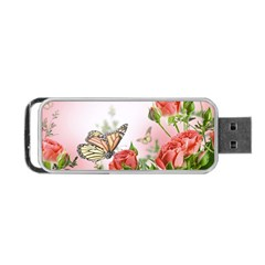 Flora Butterfly Roses Portable Usb Flash (two Sides)