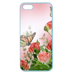 Flora Butterfly Roses Apple Seamless Iphone 5 Case (color)