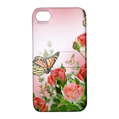 Flora Butterfly Roses Apple Iphone 4/4s Hardshell Case With Stand