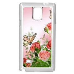 Flora Butterfly Roses Samsung Galaxy Note 4 Case (white)