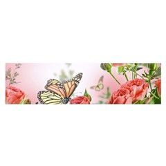 Flora Butterfly Roses Satin Scarf (oblong)