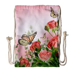 Flora Butterfly Roses Drawstring Bag (large)