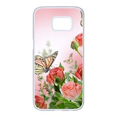 Flora Butterfly Roses Samsung Galaxy S7 Edge White Seamless Case