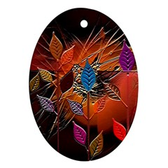 Colorful Leaves Ornament (oval) by BangZart