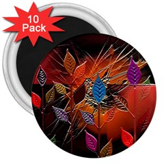 Colorful Leaves 3  Magnets (10 Pack)