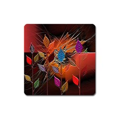 Colorful Leaves Square Magnet by BangZart