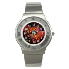 Colorful Leaves Stainless Steel Watch by BangZart