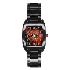 Colorful Leaves Stainless Steel Barrel Watch by BangZart