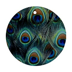 Feathers Art Peacock Sheets Patterns Ornament (round) by BangZart
