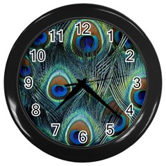 Feathers Art Peacock Sheets Patterns Wall Clocks (black)