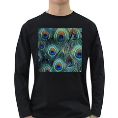 Feathers Art Peacock Sheets Patterns Long Sleeve Dark T Shirts by BangZart