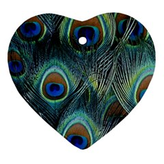 Feathers Art Peacock Sheets Patterns Heart Ornament (two Sides)