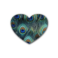 Feathers Art Peacock Sheets Patterns Heart Coaster (4 Pack)