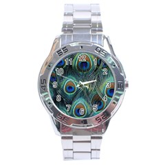 Feathers Art Peacock Sheets Patterns Stainless Steel Analogue Watch