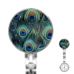 Feathers Art Peacock Sheets Patterns Stainless Steel Nurses Watch