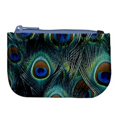 Feathers Art Peacock Sheets Patterns Large Coin Purse by BangZart