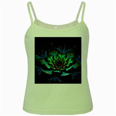 Fractal Flowers Abstract Petals Glitter Lights Art 3d Green Spaghetti Tank