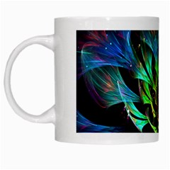 Fractal Flowers Abstract Petals Glitter Lights Art 3d White Mugs