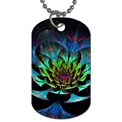 Fractal Flowers Abstract Petals Glitter Lights Art 3d Dog Tag (two Sides)