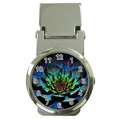 Fractal Flowers Abstract Petals Glitter Lights Art 3d Money Clip Watches