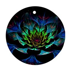 Fractal Flowers Abstract Petals Glitter Lights Art 3d Round Ornament (two Sides)
