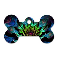 Fractal Flowers Abstract Petals Glitter Lights Art 3d Dog Tag Bone (one Side)