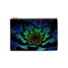 Fractal Flowers Abstract Petals Glitter Lights Art 3d Cosmetic Bag (medium)