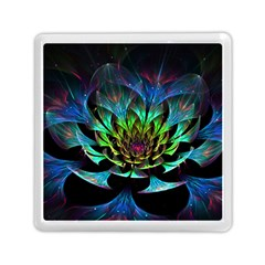 Fractal Flowers Abstract Petals Glitter Lights Art 3d Memory Card Reader (square)