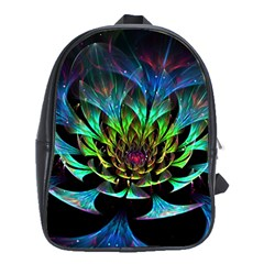 Fractal Flowers Abstract Petals Glitter Lights Art 3d School Bags (xl)
