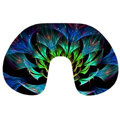 Fractal Flowers Abstract Petals Glitter Lights Art 3d Travel Neck Pillows