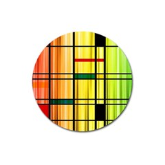 Line Rainbow Grid Abstract Magnet 3  (round)