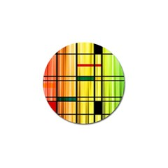 Line Rainbow Grid Abstract Golf Ball Marker
