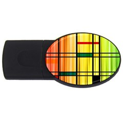 Line Rainbow Grid Abstract Usb Flash Drive Oval (2 Gb) by BangZart