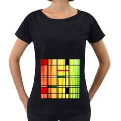 Line Rainbow Grid Abstract Women s Loose Fit T Shirt (black) by BangZart