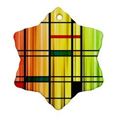 Line Rainbow Grid Abstract Ornament (snowflake)