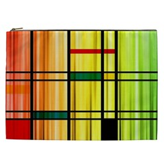 Line Rainbow Grid Abstract Cosmetic Bag (xxl)