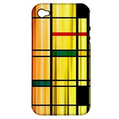 Line Rainbow Grid Abstract Apple Iphone 4/4s Hardshell Case (pc+silicone)
