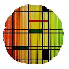 Line Rainbow Grid Abstract Large 18  Premium Round Cushions