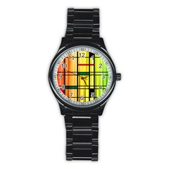 Line Rainbow Grid Abstract Stainless Steel Round Watch