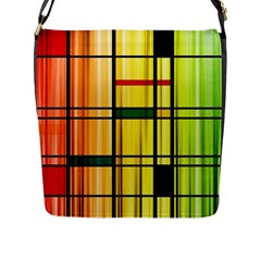 Line Rainbow Grid Abstract Flap Messenger Bag (l)