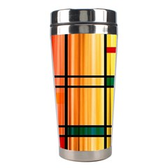 Line Rainbow Grid Abstract Stainless Steel Travel Tumblers by BangZart