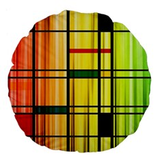 Line Rainbow Grid Abstract Large 18  Premium Flano Round Cushions by BangZart