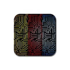 Circuit Board Seamless Patterns Set Rubber Square Coaster (4 Pack)