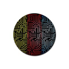 Circuit Board Seamless Patterns Set Rubber Coaster (round)  by BangZart