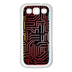 Circuit Board Seamless Patterns Set Samsung Galaxy S3 Back Case (white)