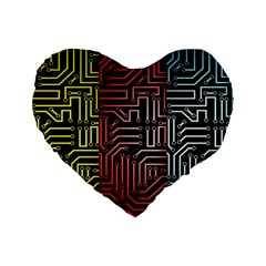 Circuit Board Seamless Patterns Set Standard 16  Premium Flano Heart Shape Cushions
