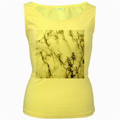Marble Pattern Women s Yellow Tank Top
